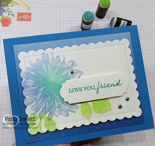 Stampin' UP! Soft Pastels - with Versamark ink and Sponge Daubers, featuring Sale-a-Bration Delicate Dahlias stamp set. Card idea with Specialty Ombre glitter paper.  by Patty Bennett www.PattyStamps.com