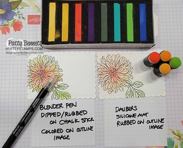 Soft Pastels Assortment from Stampin' UP! with Delicate Dahlias stamp set. How to use sponge daubers and a Blender Pen with Pastels.