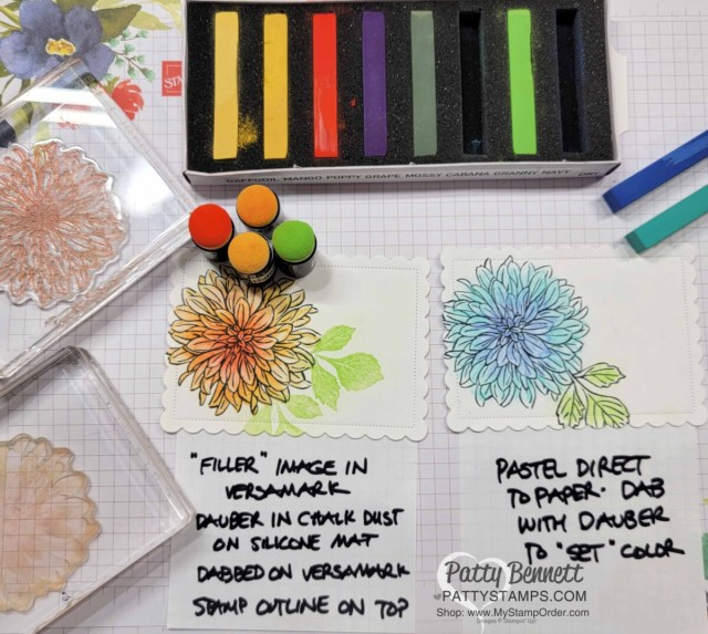 Soft Pastels Assortment from Stampin' UP! with Delicate Dahlias stamp set. How to use sponge daubers and Direct to Paper with Pastels.