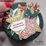Cute Christmas Wreath Ornament idea with a spool of ribbon and the Stampin