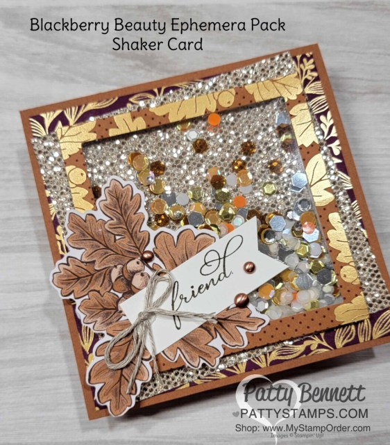 Stampin' Up! Blackberry Beauty Ephemera pack Shaker Card idea with Be Dazzling glitter paper and Sequins for Everything. www.PattyStamps.com
