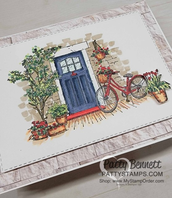 Stampin' Blends coloring video featuring Feels Like Home set. Sale-a-Bration 2021 stamp set gift. Card idea with a blue door by Patty Bennett www.pattystamps.com