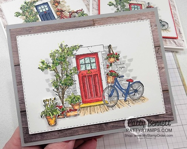 Stampin' Blends coloring video featuring Feels Like Home set and a red front door, with Patty Bennett. Sale-a-Bration 2021 stamp set gift.