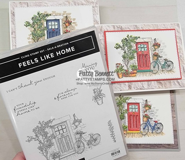 Stampin' Blends coloring video featuring Feels Like Home set. Sale-a-Bration 2021 stamp set gift. Card ideas by Patty Bennett www.pattystamps.com