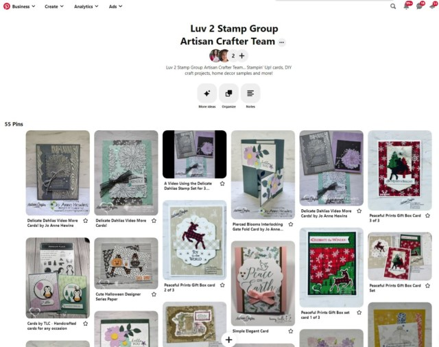 Luv 2 Stamp Group Artisan Crafter Pinterest board for Stampin' Up! cards and papercrafting ideas.