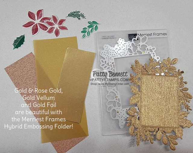 Rose Gold, Gold Foil and Gold Vellum specialty papers with the Stampin' Up! Merriest Frames Hybrid Embossing Folder. www.PattyStamps.com