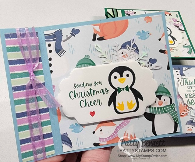 Penguin Place Book Binding Fun Fold card featuring Stampin' Up! Sale-a-Bration Penguin Playmates designer paper, by Patty Bennett