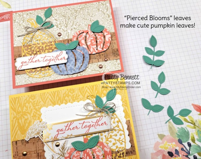 Pretty Pumpkin bundle / Detailed Pumpkin dies from Stampin' Up! - fall card idea with Harvest Meadow DSP, Pierced Blooms dies and cork paper. by Patty Bennett www.PattyStamps.com