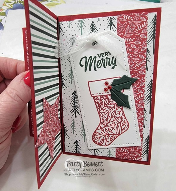 Christmas Pinwheel card idea featuring the Stampin' Up! Tidings and Trimmings bundle and Tidings of Christmas designer paper.