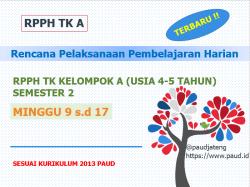 Rpph Tk Kelompok A 4 5 Tahun Smt 2 Minggu 9 16 K13 Paud Jateng