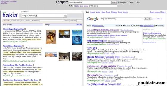 comparativa buscadores hakia y google