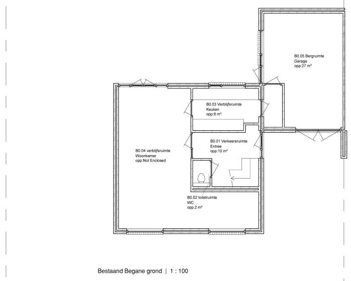 Bestaande plattegrond van de woning voordat hij is vergroot, uitgebreid, verbouw. Architect Enschede Markelo Hengelo Haaksbergen Almelo Oldenzaal Borne.