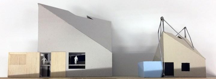 Twee maquettes van Arque klimcentrum. Architect Enschede Markelo Hengelo Haaksbergen Almelo Oldenzaal Borne