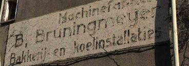 Bestaande gevel reclame machinefabriek B, Bruningmijer Bakkerij en Koelinstallaties te Enschede. Architect Enschede Markelo Hengelo Haaksbergen Almelo Oldenzaal Borne