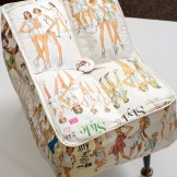 Playing Field Not Included, 40x35x25cm, vintage sewing patterns, watercolour, footstool legs (2012)