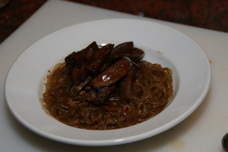 Spicy pork jap chae with dry-fried eggplant