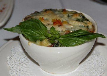 Spinach and andouille souffle