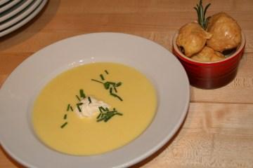 Corn velouté and gruyere gougères