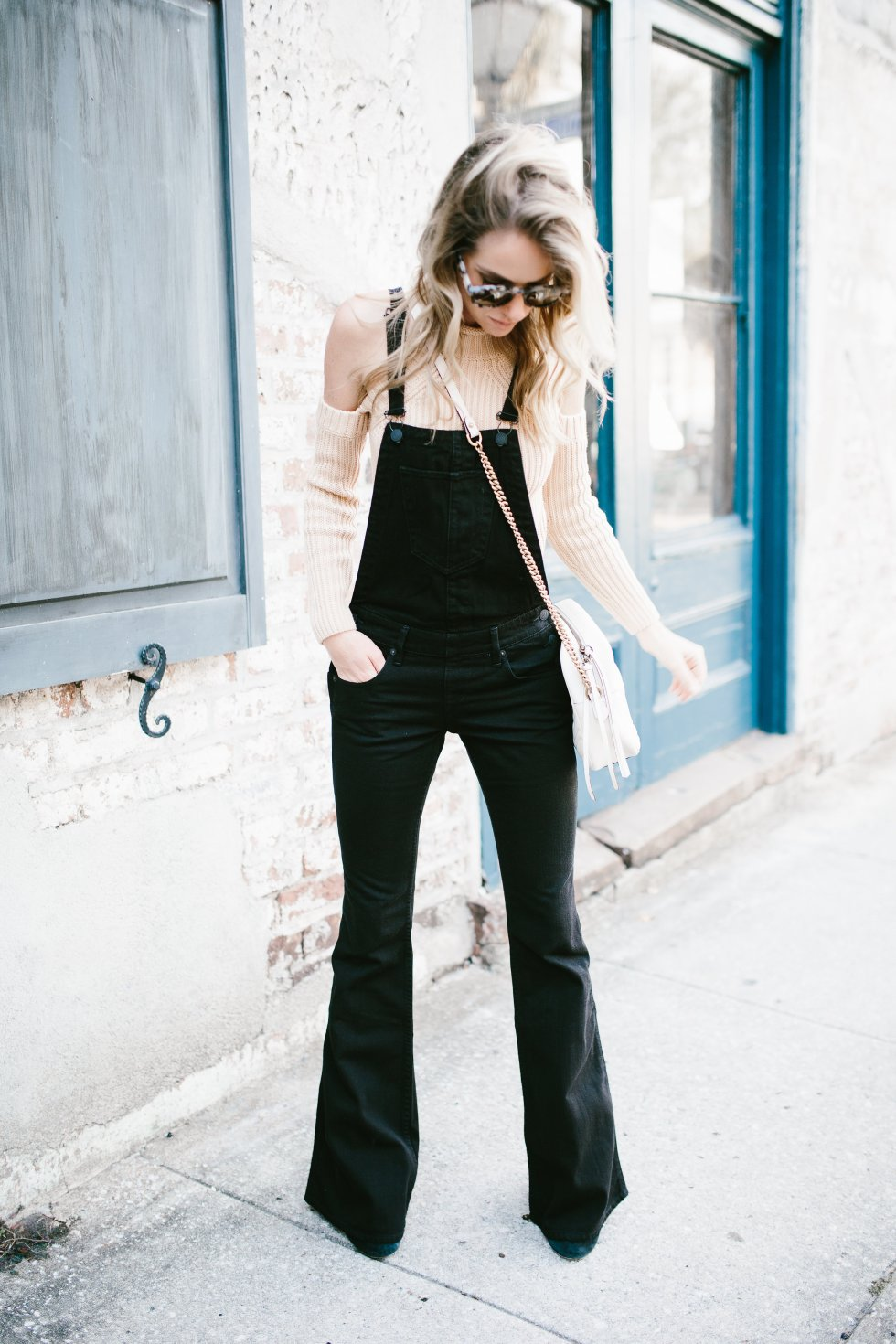True Religion overalls and cold shoulder sweater on PAULARALLIS.com