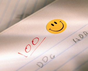 Smiley face on a perfect paper