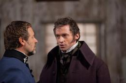 Russell Crowe as Javert and Hugh Jackman as Valjean in Les Miserables