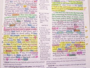 Bible page showing marking from studying