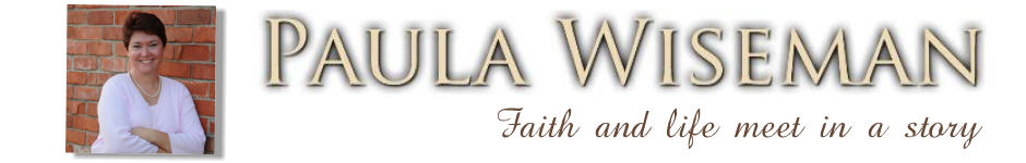 Paula Wiseman site header image with headshot and tagline - faith and life meet in a story
