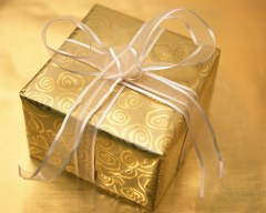 Gift in gold paper