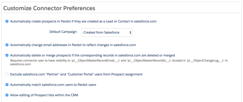 salesforce to pardot sync settings
