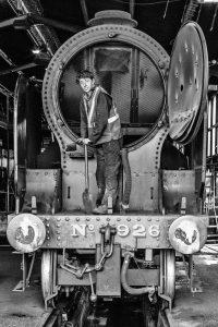 Preparing Engine 926 at Goathland (Black and white)