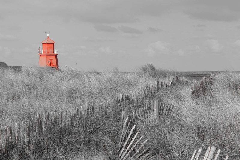 Lighthouse highlighted red, South Shields