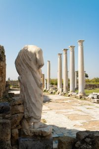 Statue and pillars at Salamis, Northern Cyprus