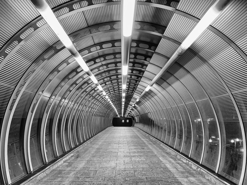 Black and white DLR walkway