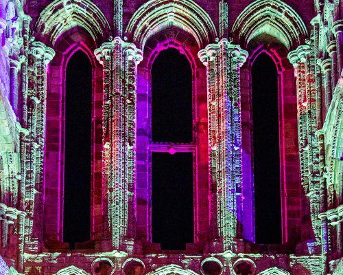 Whitby Abbey Illuminated at night
