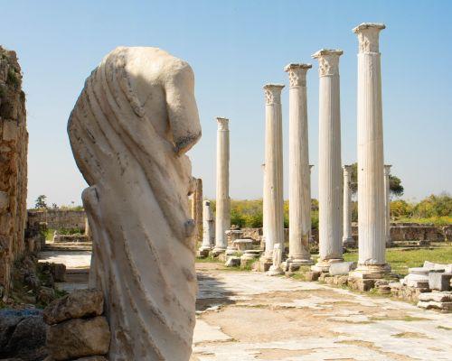 Statue and pillars at Salamis, Northern Cyprus
