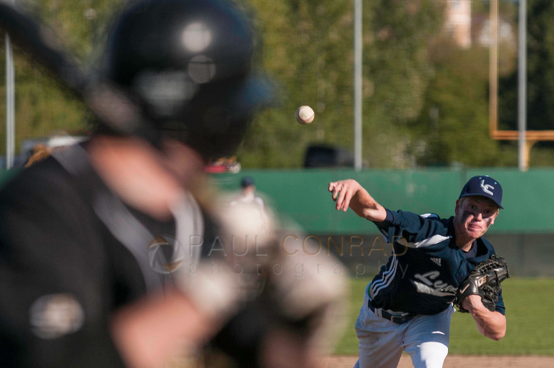 © Paul Conrad/Pablo Conrad Photography - Meridian Trojans host the Lynden Christian Lyncs in high school baseball on Wednesday afternoon April 30, 2014, in Laurel, Wash. The visiting Lyncs won 5-4 in a tight game.