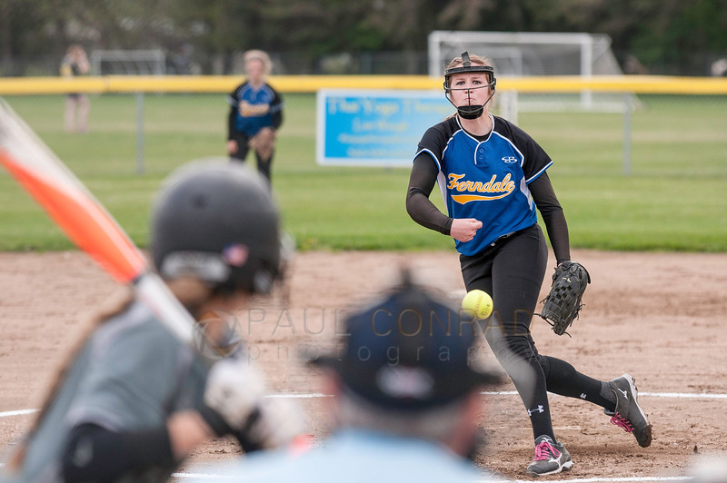 © Paul Conrad/Pablo Conrad Photography - Meridian High School girls fastpitch softball hosts visiting Ferdale High School at Meridian HS in Laurel, Wash., on Friday afternoon May 2, 2014. The visiting Golden Eagles defeated the Trojans 13-0.