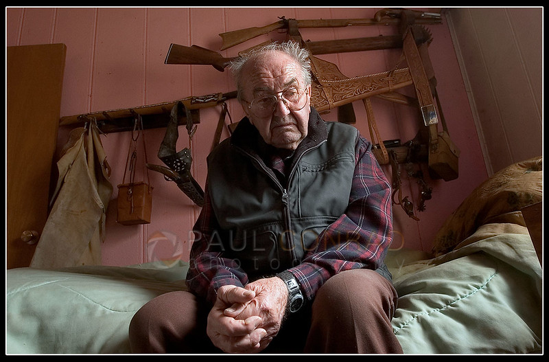 © Paul Conrad/Pablo Conrad Photography - Pondering his next move, Lada Vrany, 87, of Aspen, Colo., sits on his bed as he describes his feelings about Pitkin County evicting him off the property he's lived on for nearly 50 years. He says he likens himself to the Native Americans in the 1800s.