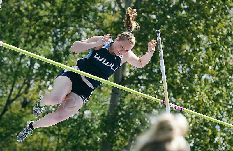 © Paul Conrad/The Bellingham Herald - Western Washington University freshman Morgan Annable clears the bar during the Woman's Pole Vault in the 2014 Ralph Vernacchia Track and Field Meet at Civic Field in Bellingham, Wash., on Saturday April 26, 2014. Annable took second place with a height of 10 feet, 8 inches.