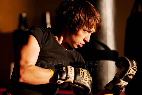 © Paul Conrad/Pablo Conrad Photography - Muay Thai black belt Anna Haskin trains at Total Confidence Martial Arts in Bellingham, Wash., for an upcoming bout. Haskin has recently began competing in the amateur circuit.