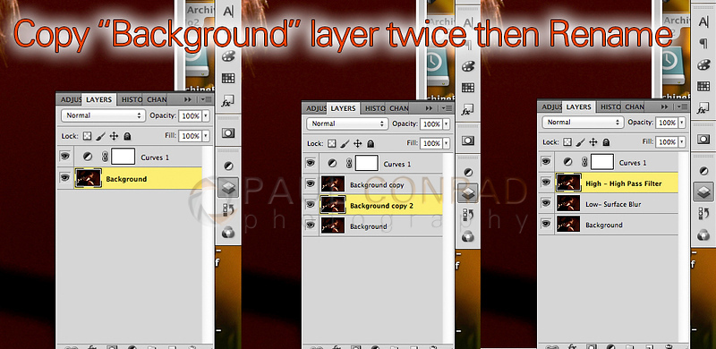 "Copy the background layer twice. Rename the new layers ""High-High Pass Filter"" and ""Low-Surface Blur."" Make sure High is above Low which is above Background"