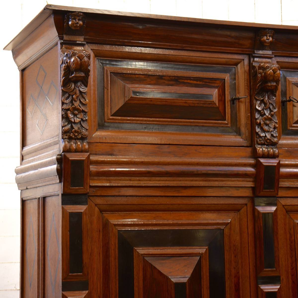 Antique Dutch Oak Ebony And Rosewood Cupboard