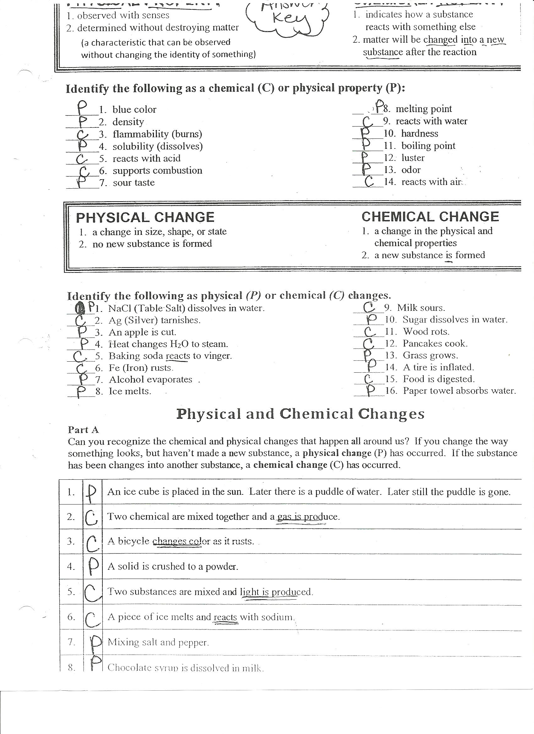 Worksheets Chemical And Physical Changes Worksheet