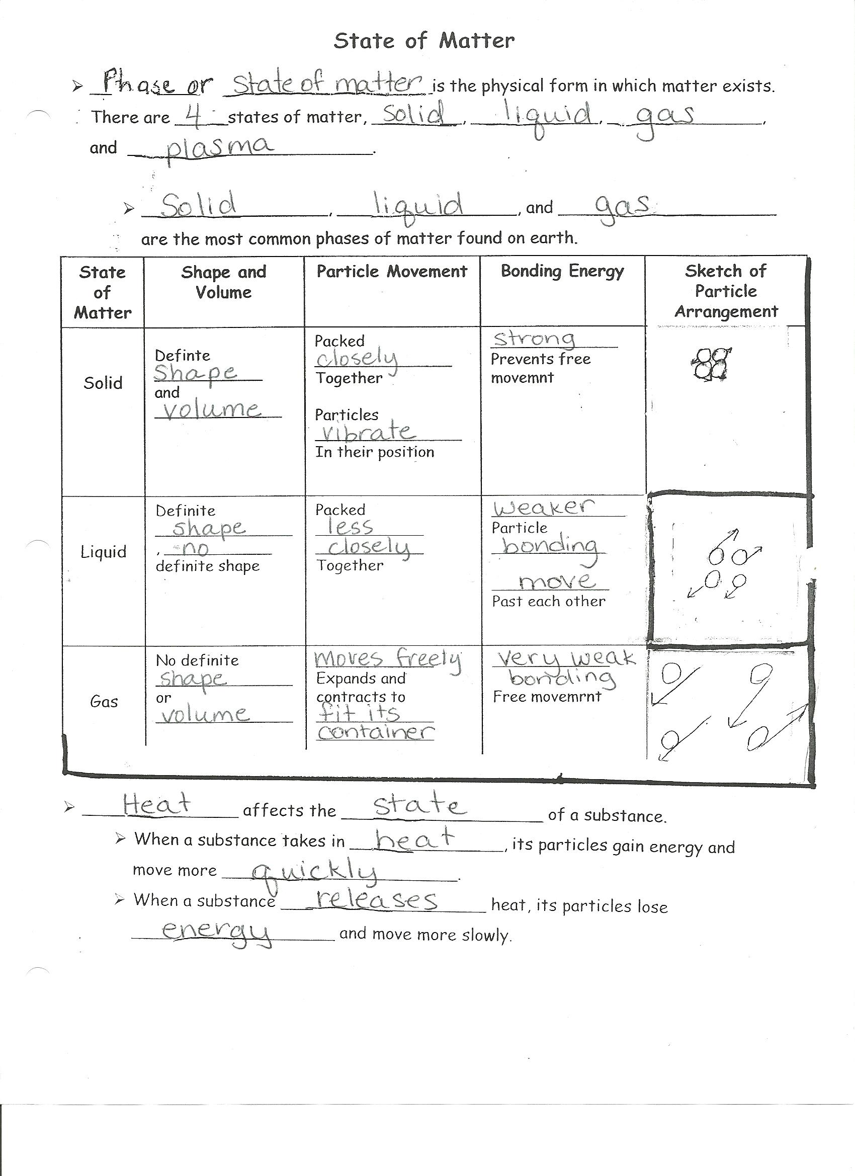 Worksheet States Of Matter Worksheets Grass Fedjp Worksheet Study Site