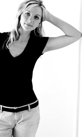 Black and white portrait blonde girl