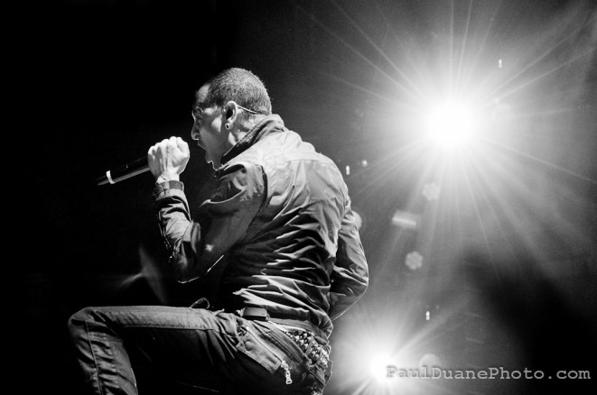 Chester Bennington of Linkin Park, black and white concert photo