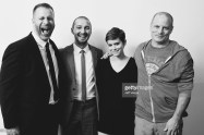 """TORONTO, ON - SEPTEMBER 15: (L-R) Screenwriter Adam G. Simon, actors Shia LaBeouf, Kate Mara and director Dito Montiel from """"Man Down"""" pose for a portrait during the 2015 Toronto International Film Festival at the TIFF Bell Lightbox on September 15, 2015 in Toronto, Canada. (Photo by Jeff Vespa/Getty Images)"""