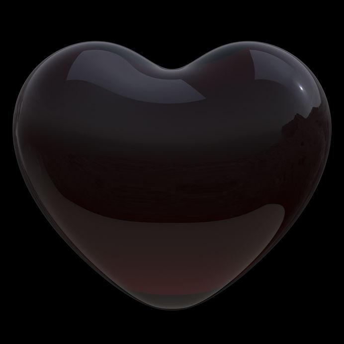 Dirty heart shape black symbol dark poison translucent glossy