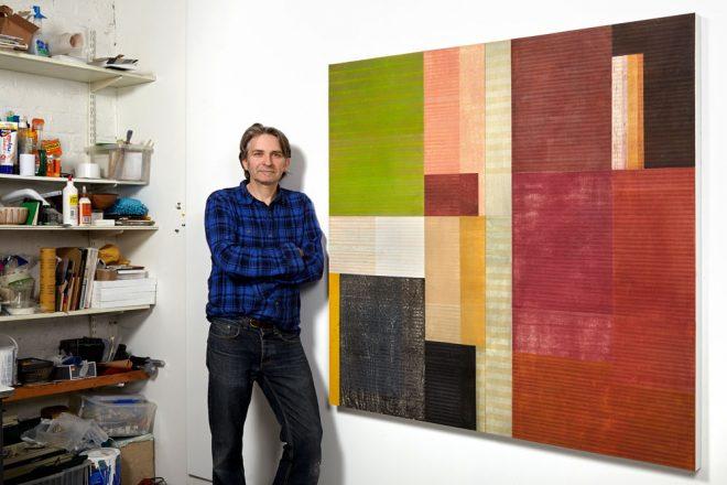 Paul Furneaux in front of Burnt Orange Earth-