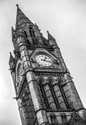 Manchester Town Hall Clock Tower, Black & White Photography Manchester Landscapes Architecture